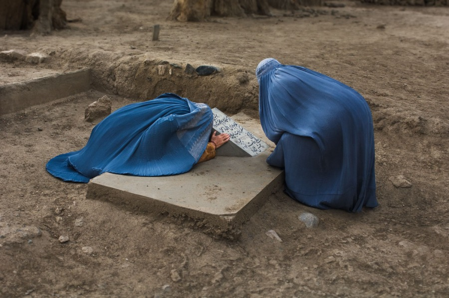 Hazara Women at Grave in Bamiyan