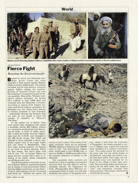 TIME Magazine, April, 1980 I took these pictures in Nangahar Province. My coverage over several trips for TIME, was the basis for winning the Robert Capa Gold Medal award.