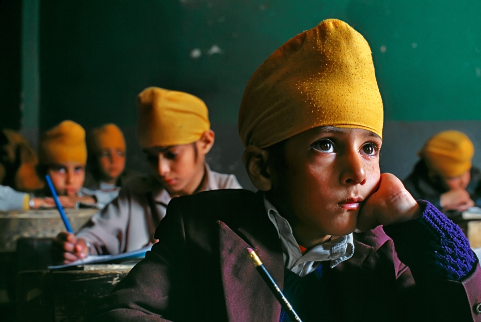 Young Sikh boys in classroom, Afghanistan