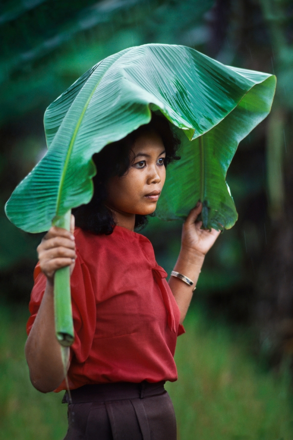 00613_13, Monsoons, Indonesia, 02/1984, INDONESIA-10052. A woman covers herself from the rain. retouched Ekaterina Savtsova 08/13/2015