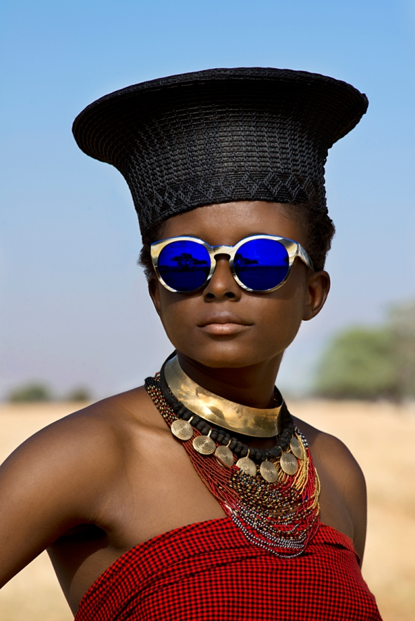 DSC_7133; Etnia; South Africa; 2013. A woman with blue sunglasses and black hat. retouched_Ekaterina Savtsova;