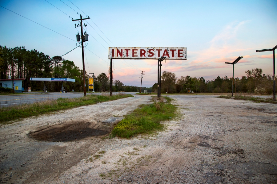 DSC_4121; Deep South; Allendale, South Carolina, USA; 04/2014, USA-10998NF2. An old interstate sign. final_Smithsonian Web Article Retouched by Sonny Fabbri 7/15/2015
