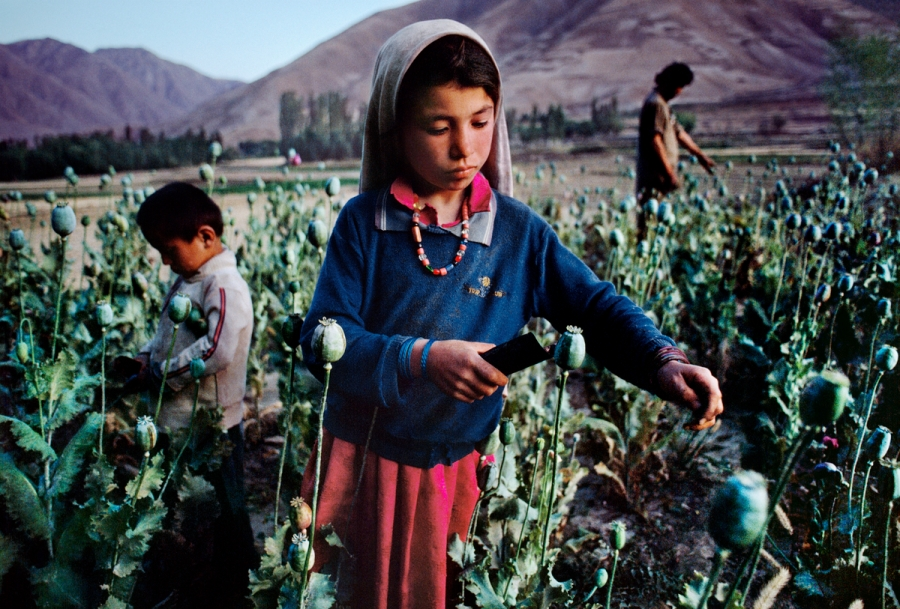 Children work in an opium field in Badakhshan, which is Afghanistan's largest producer of opium, Badakhshan, northern Afghanistan, 1992, final print_milan In The Shadow of the Mountain_Book final print_MACRO'11 final print_Beetles and Huxley Retouched_Sonny Fabbri 03/18/2014