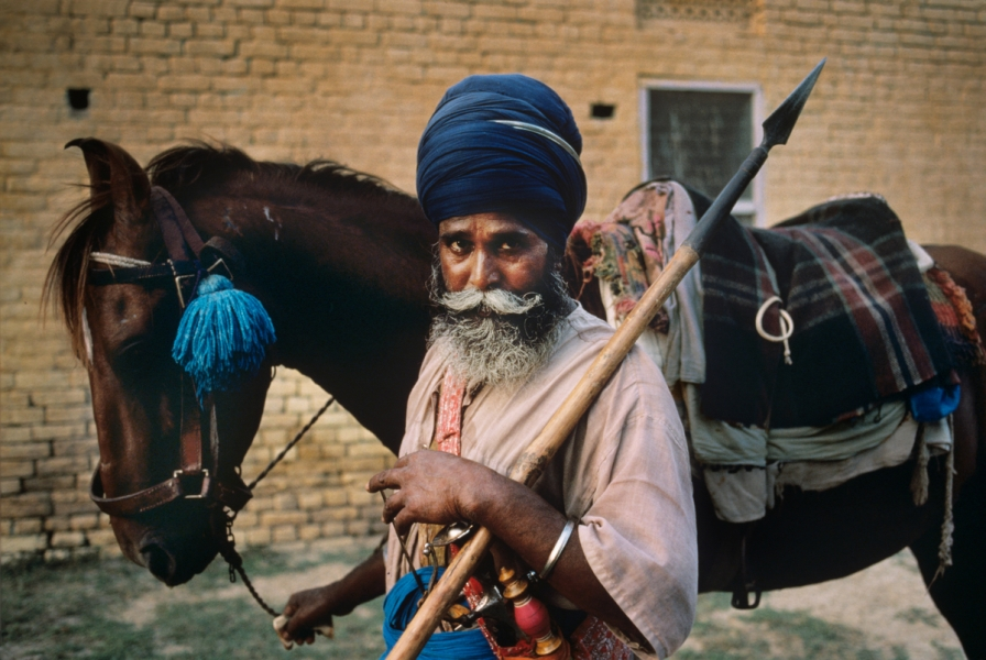 Amritsar, Punjab, India, 1996, INDIA-10440. Man with spear and horse. NYC65119, MCS1996002 K267 retouched_Sonny Fabbri 03/27/2015