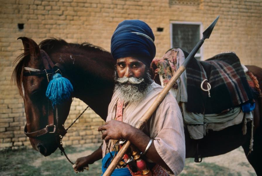 Amritsar, Punjab, India, 1996, INDIA-10440. Man with spear and horse. NYC65119, MCS1996002 K267 retouched_Sonny Fabbri 03/27/2015