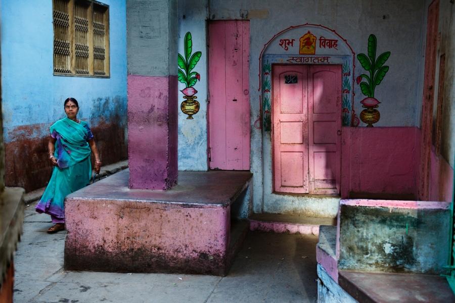 Woman in Alleyway Varanasi. INDIA-10906, Varanasi, India, 2010