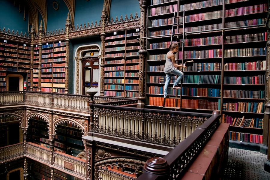 DSC_2998, Brazil, 03/2014, BRAZIL-10119. A woman on a library ladder. Real Gabinete Português de Leitura in Rio de Janeiro Retouched_Ekaterina Savtsova 04/11/2014